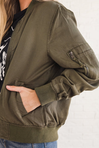 Olive Green Boutique Bomber Jacket with Pockets