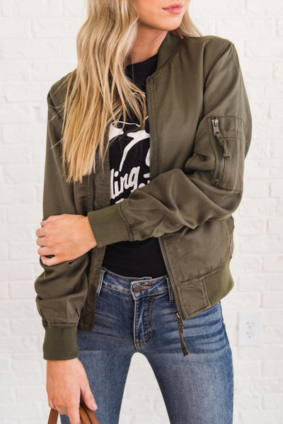 Olive Green Bomber Jackets with Pockets for Women