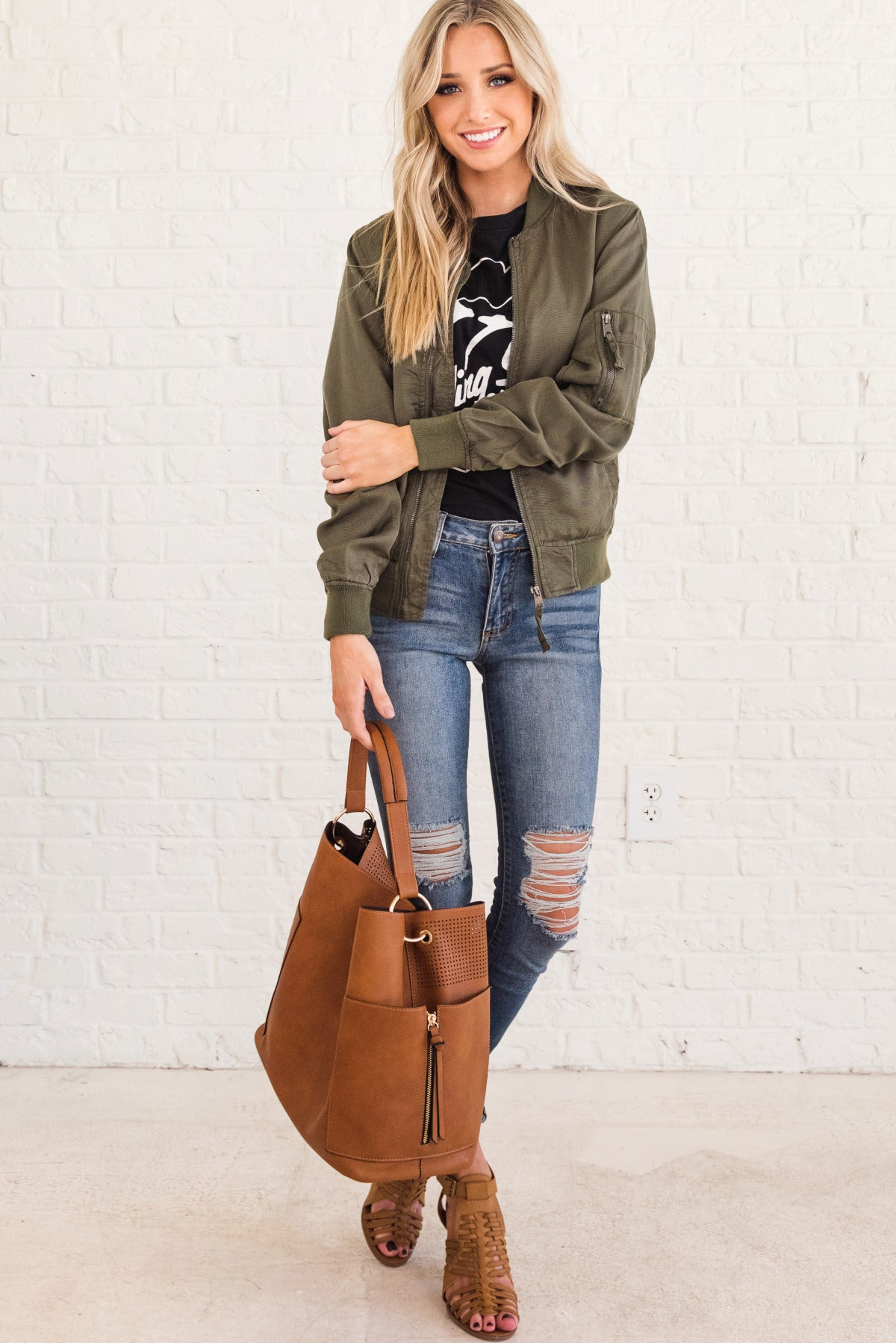d8fc9167c Weekend Vibes Olive Green Bomber Jacket | Women's Outerwear