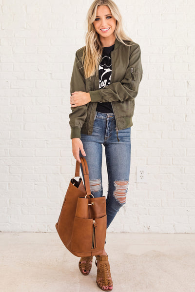 Olive Green Casual Women's Outerwear