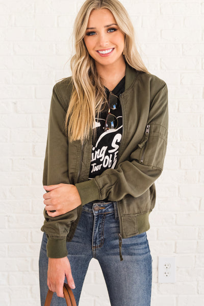 Olive Green Boutique Bomber Jackets for Women