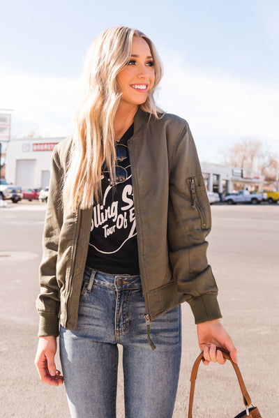 Solid Olive Green Boutique Women's Cute Bomber Jacket Outerwear