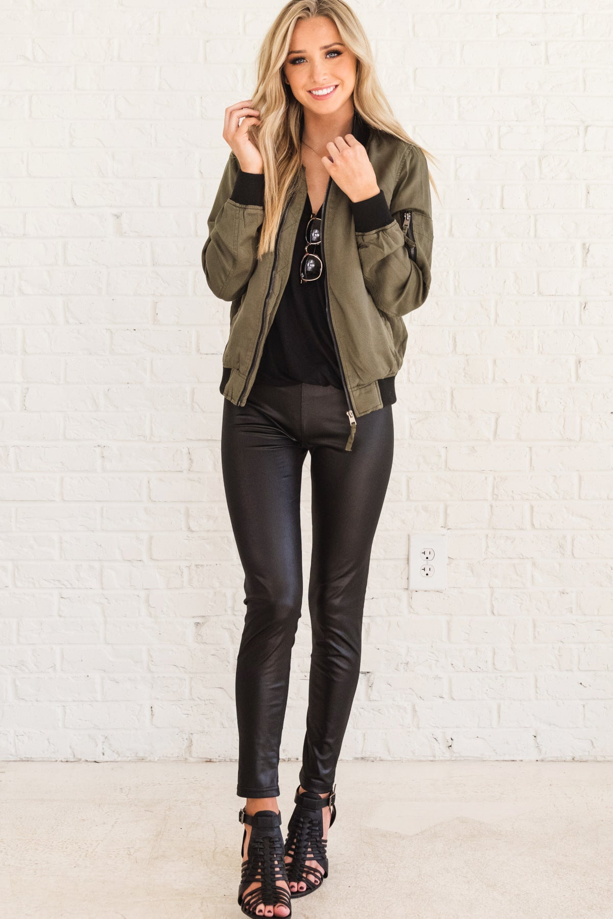 c0f633274 Weekend Vibes Olive Green and Black Bomber Jacket | Boutique
