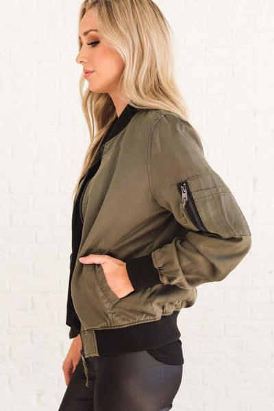 602e41ebe Weekend Vibes Olive Green and Black Bomber Jacket | Boutique