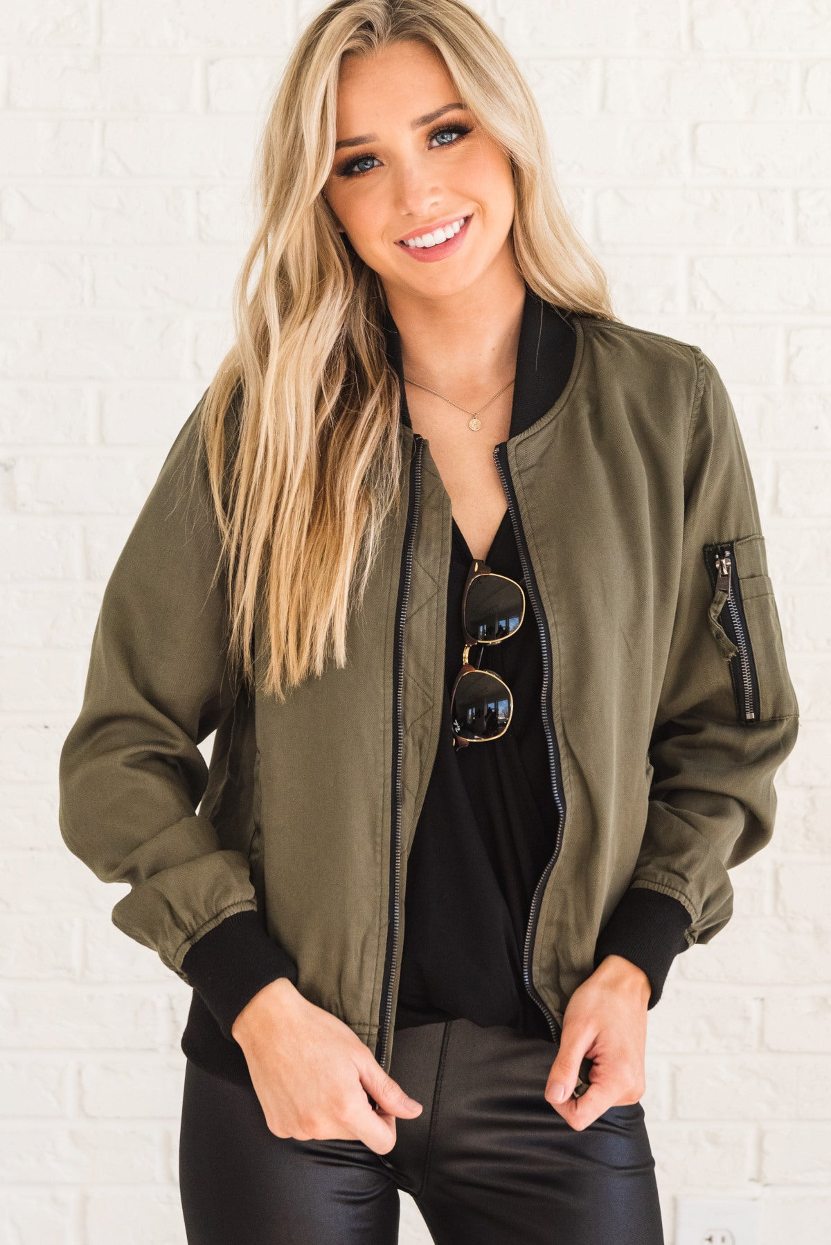 Olive Green and Black Boutique Bomber Jackets for Women