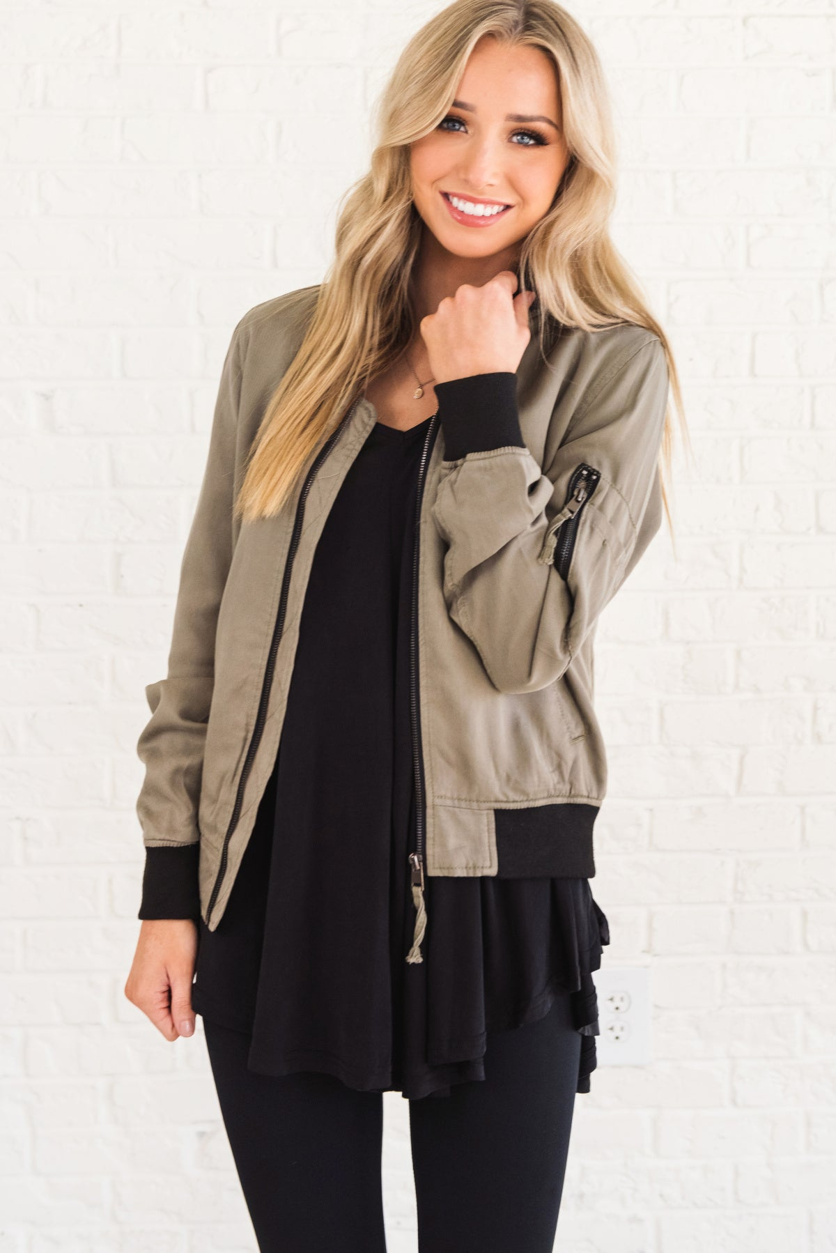 Sage Green Bomber Style Boutique Jackets for Women