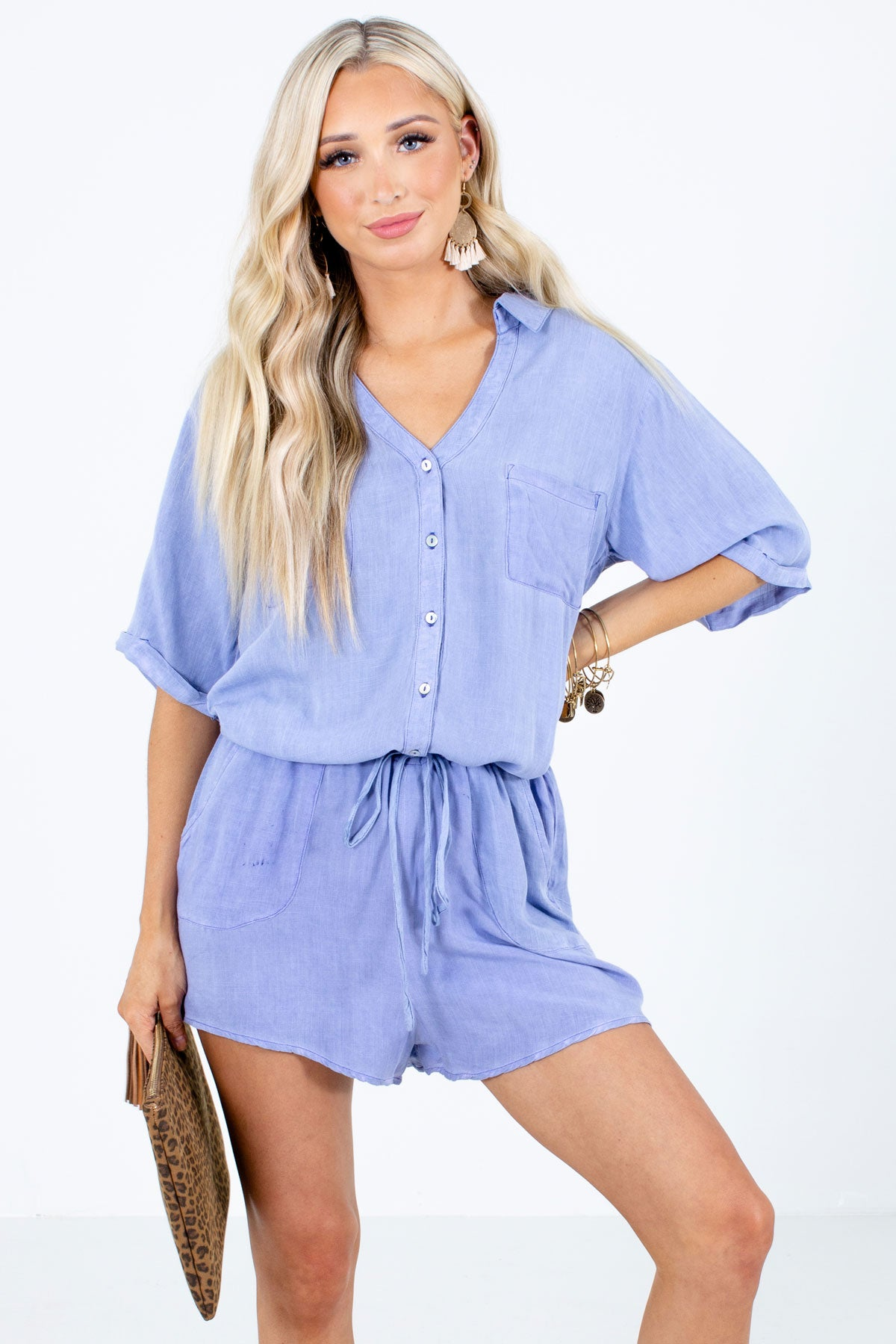 Blue Button-Up Bodice Boutique Rompers for Women