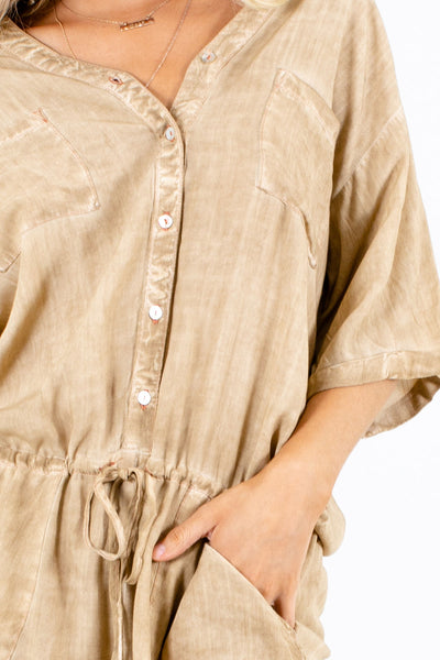 Brown Cute and Comfortable Boutique Rompers for Women