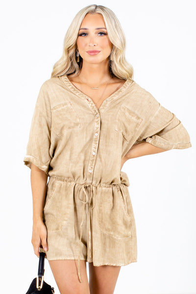 Brown Front Pocket Boutique Rompers for Women