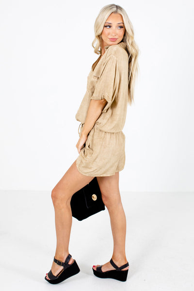 Women's Brown Boutique Rompers with Pockets