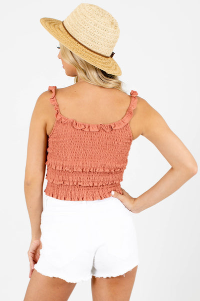 Women's Orange Ruffle Accented Boutique Crop Top