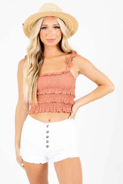 Women's Orange Cute and Comfortable Boutique Crop Tops for Women