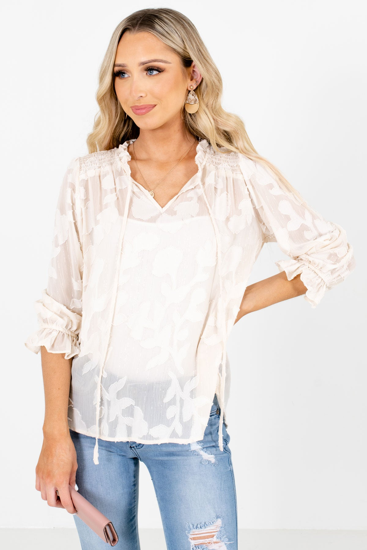 Ivory Leaf Texture Patterned Boutique Blouses for Women