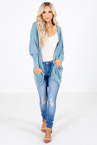 Women's Blue Layering Boutique Cardigan