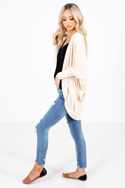 Women's Cream Boutique Cardigan with Pockets