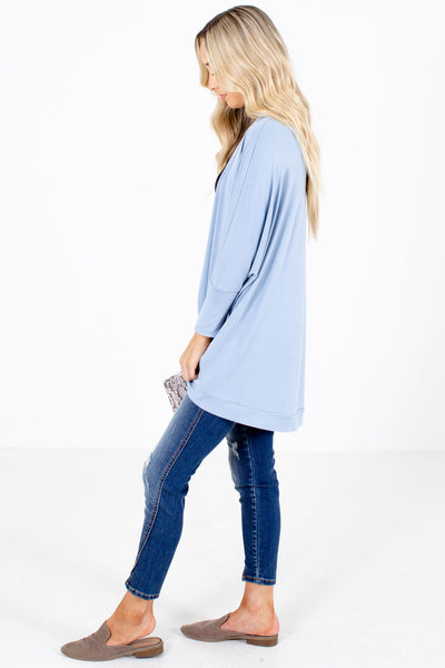 Women's Blue Rounded Hem Boutique Cardigan