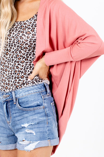 Women's Pink High-Quality Material Boutqiue Cardigan