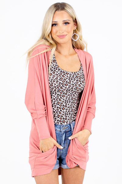 Pink Boutique Cardigan with Pockets for Women