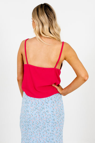 Hot Pink Cute Boutique Front Knot Tank Tops