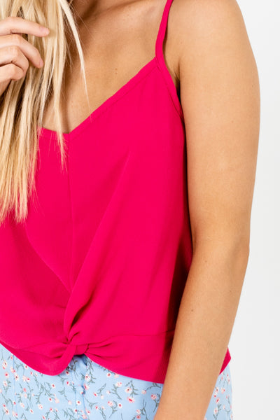 Hot Pink Lightweight Textured Tank Tops with Front Knot Detail