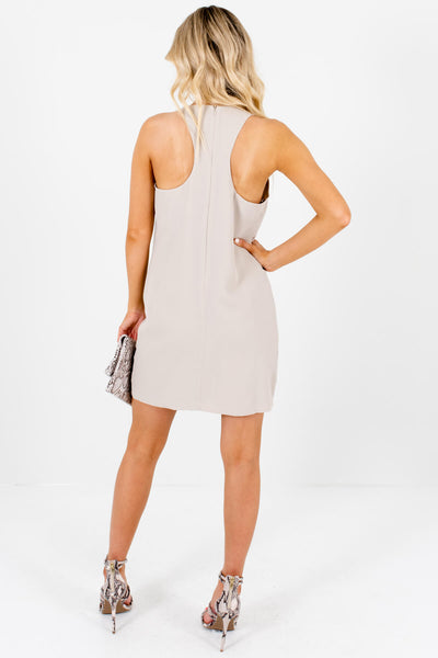 Beige Asymmetrical Seam Racerback Mini Dresses for Women