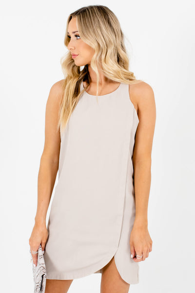 Beige Taupe Brown Asymmetrical Seam Mini Dresses