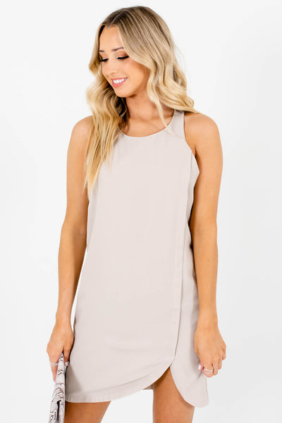 Beige Asymmetrical Seam Mini Dresses Affordable Online Boutique