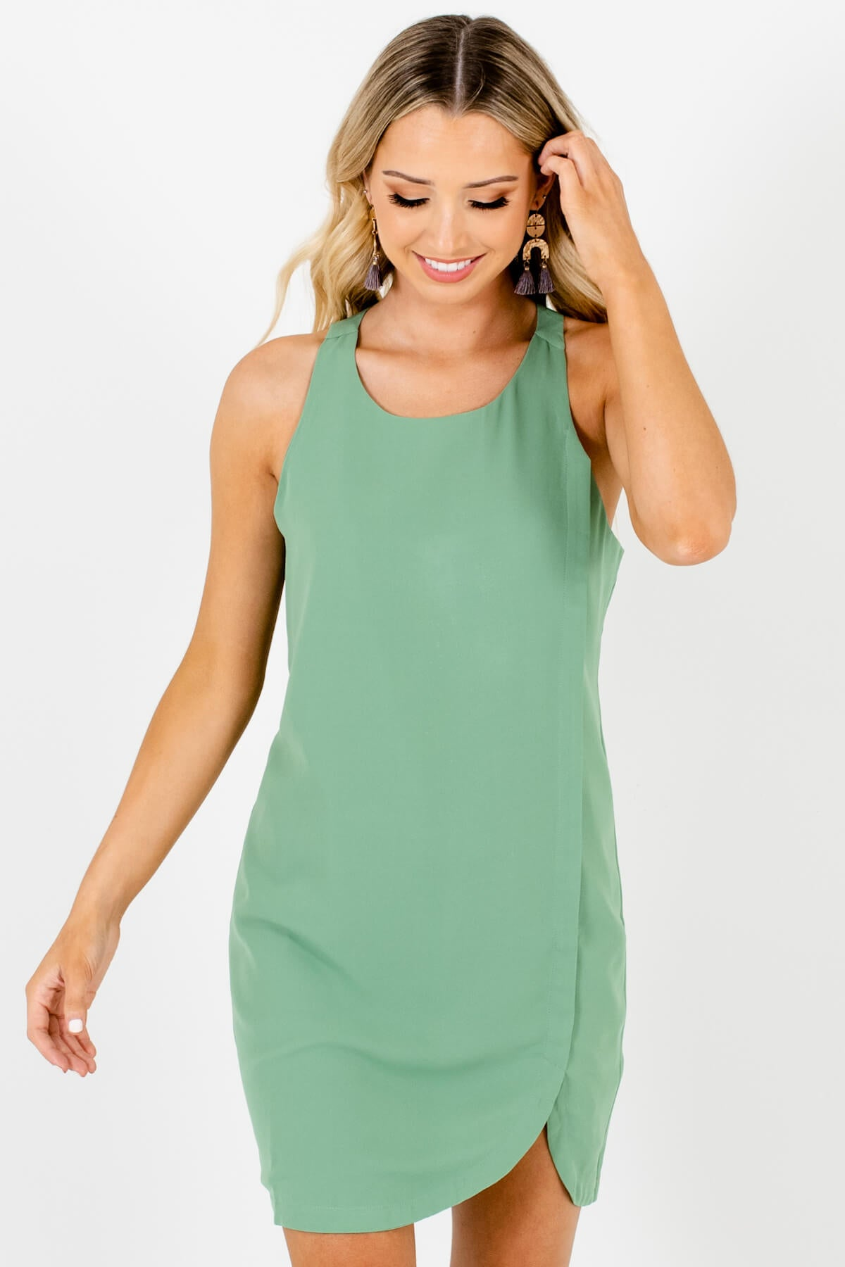 Light Green Asymmetrical Seam Detail Mini Dresses for Women