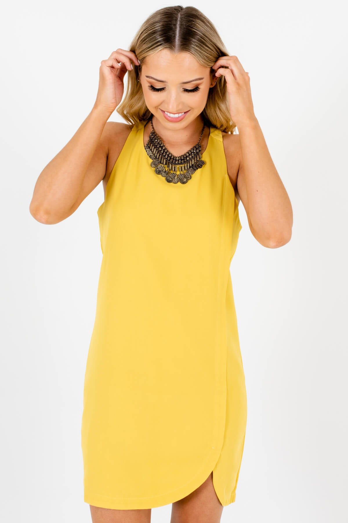 Chartreuse Yellow Asymmetrical Seam Mini Dresses for Women