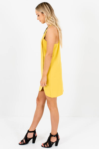 Yellow Asymmetrical Seam Mini Dresses Affordable Online Boutique