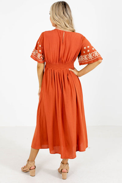 Women's Orange Keyhole Back Boutique Midi Dress