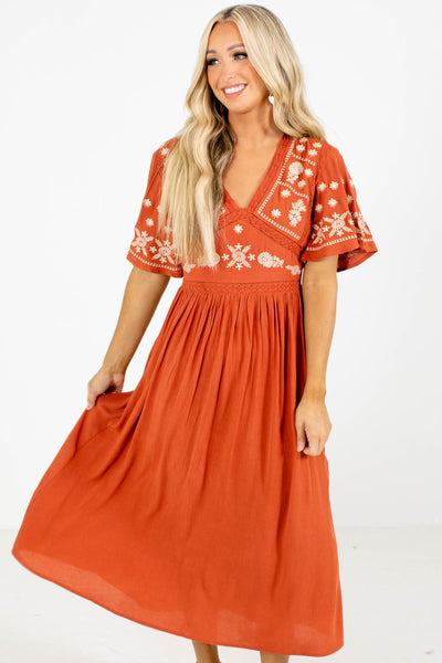 Orange Embroidered Bodice Boutique Midi Dresses for Women
