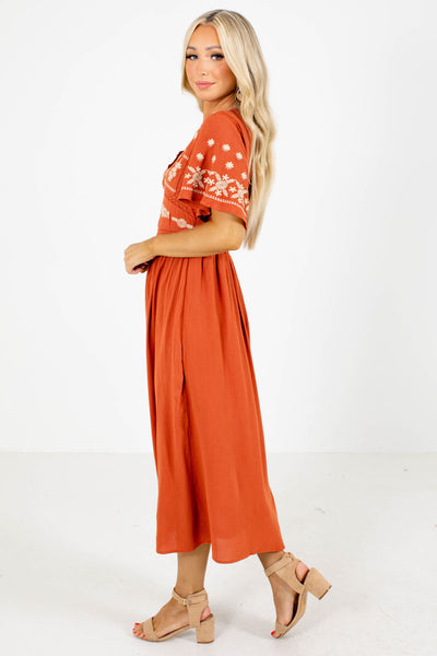 Orange Fully Lined Boutique Midi Dresses for women