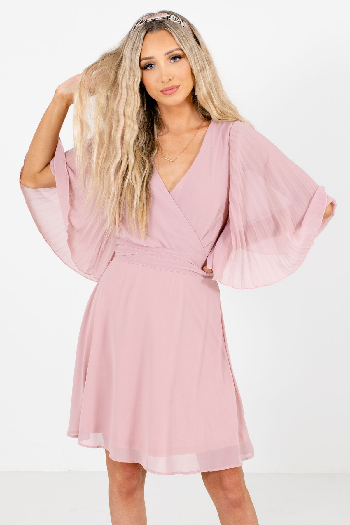 Light Pink Mini Length Boutique Dresses for Women