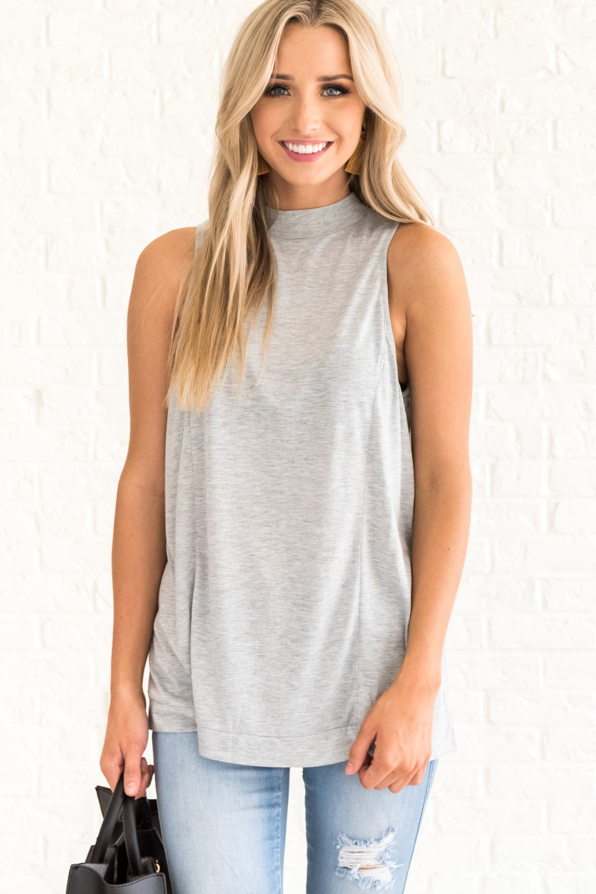 Gray Flowy Tank Top