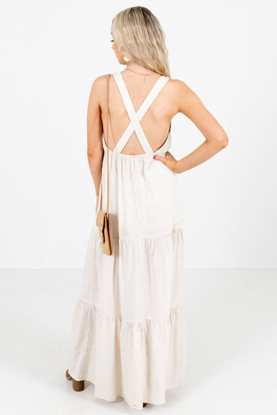 Women's Beige Open Back Boutique  Maxi Dress