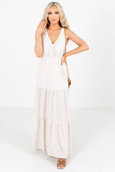 Beige V-Neckline Boutique Maxi Dresses for Women