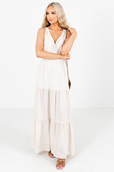 Women's Beige Criss Cross Back Boutique Maxi Dress