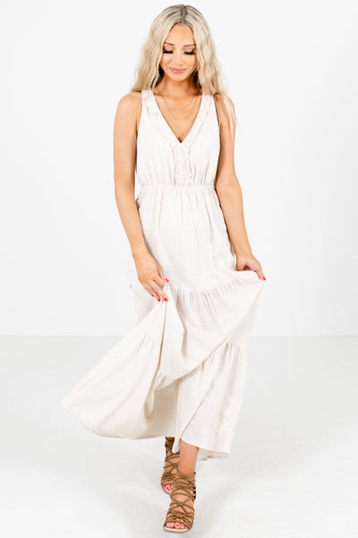 Beige Cute and Comfortable Boutique Maxi Dresses for Women