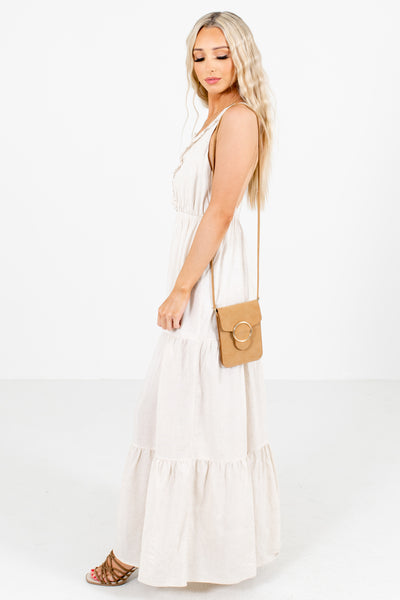 Beige Tiered Ruffle Style Boutique Maxi Dresses for Women