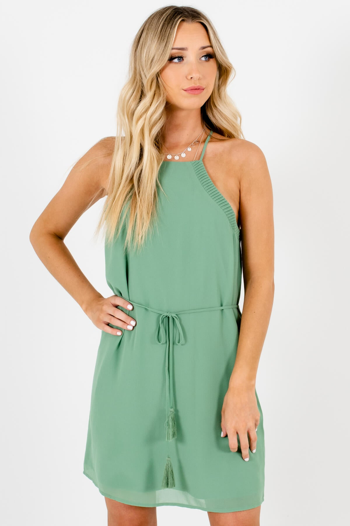 Green Pleated Tassel Tie Mini Dresses Affordable Online Boutique