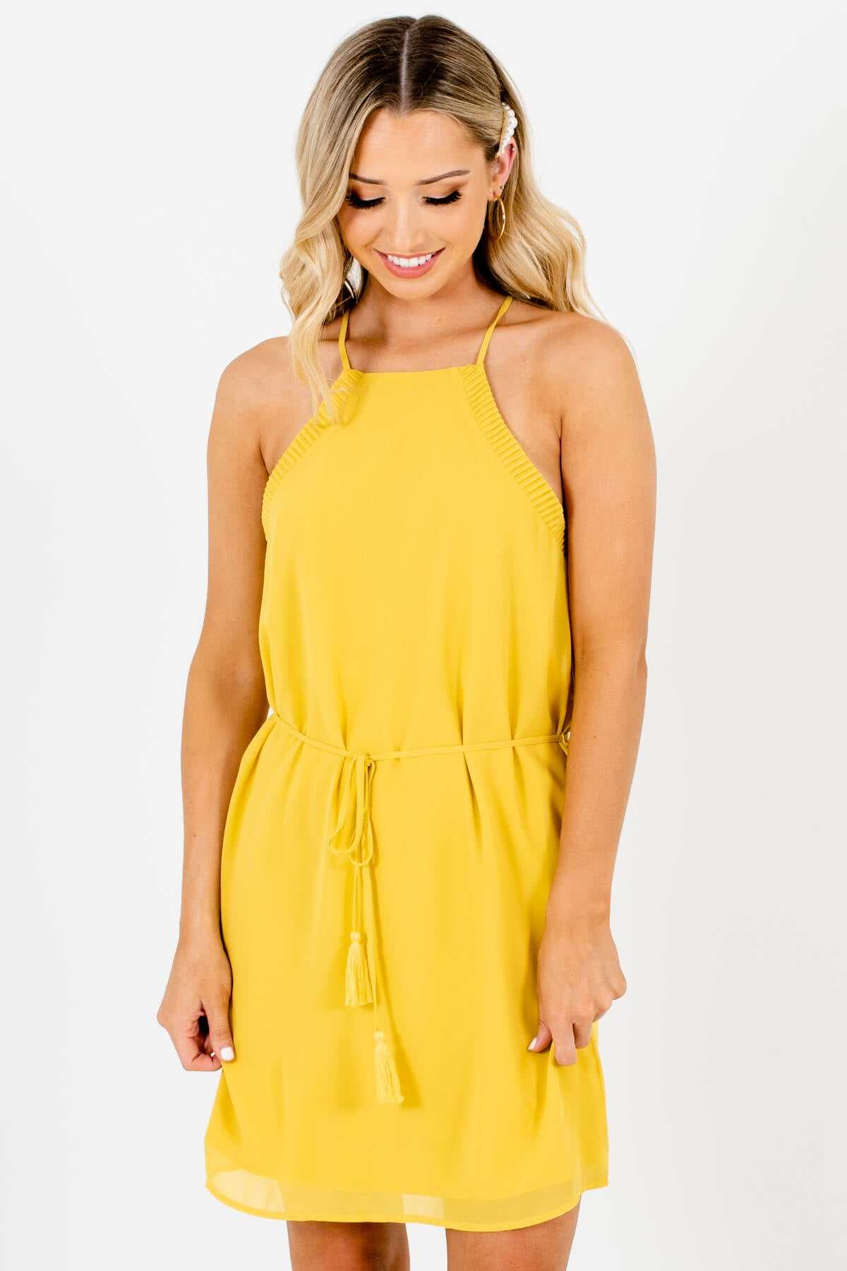 Yellow Pleated Halter Tassel Tie Mini Dresses for Women