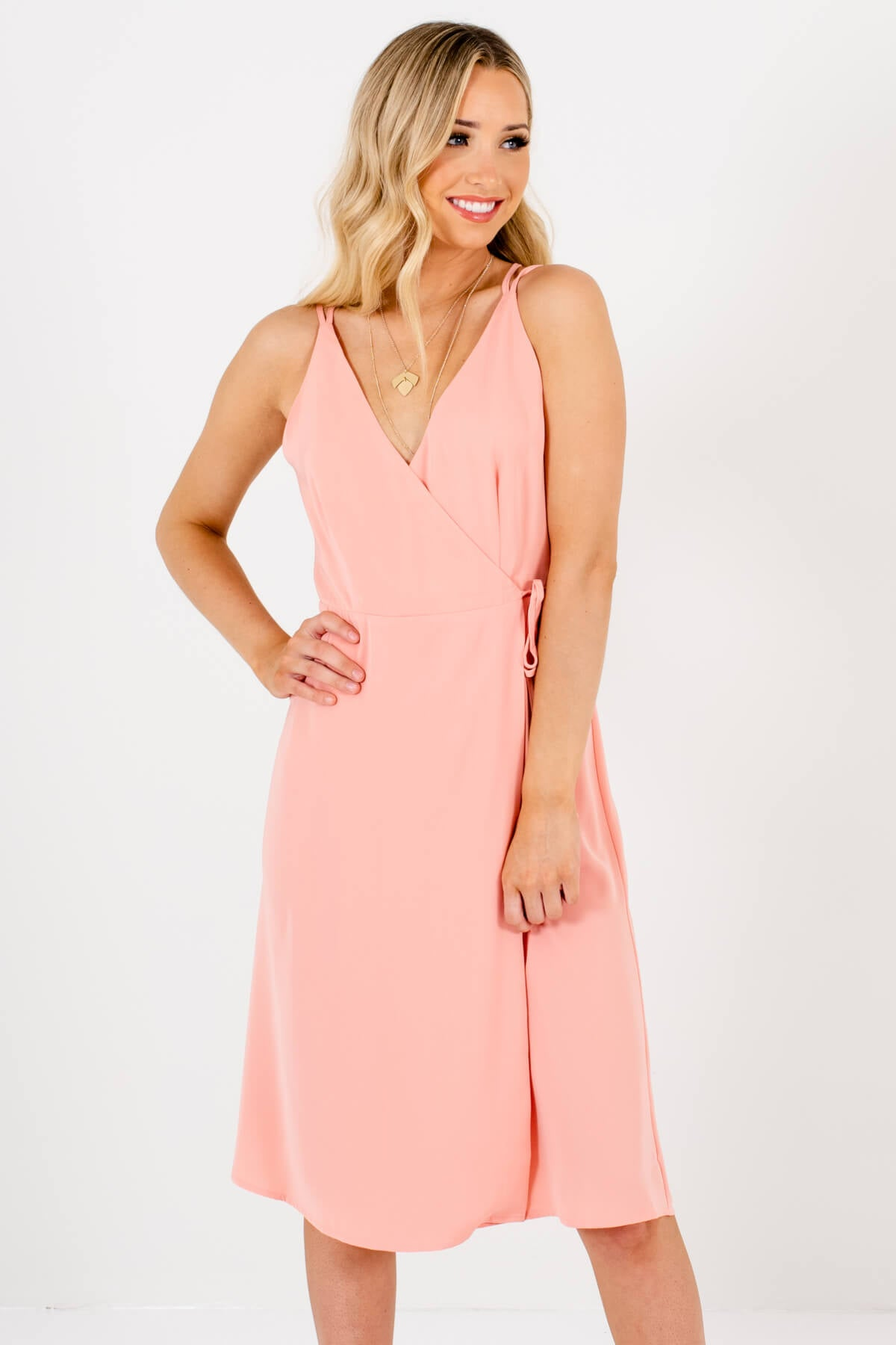 Pink Wrap Style Boutique Knee-Length Dresses for Women
