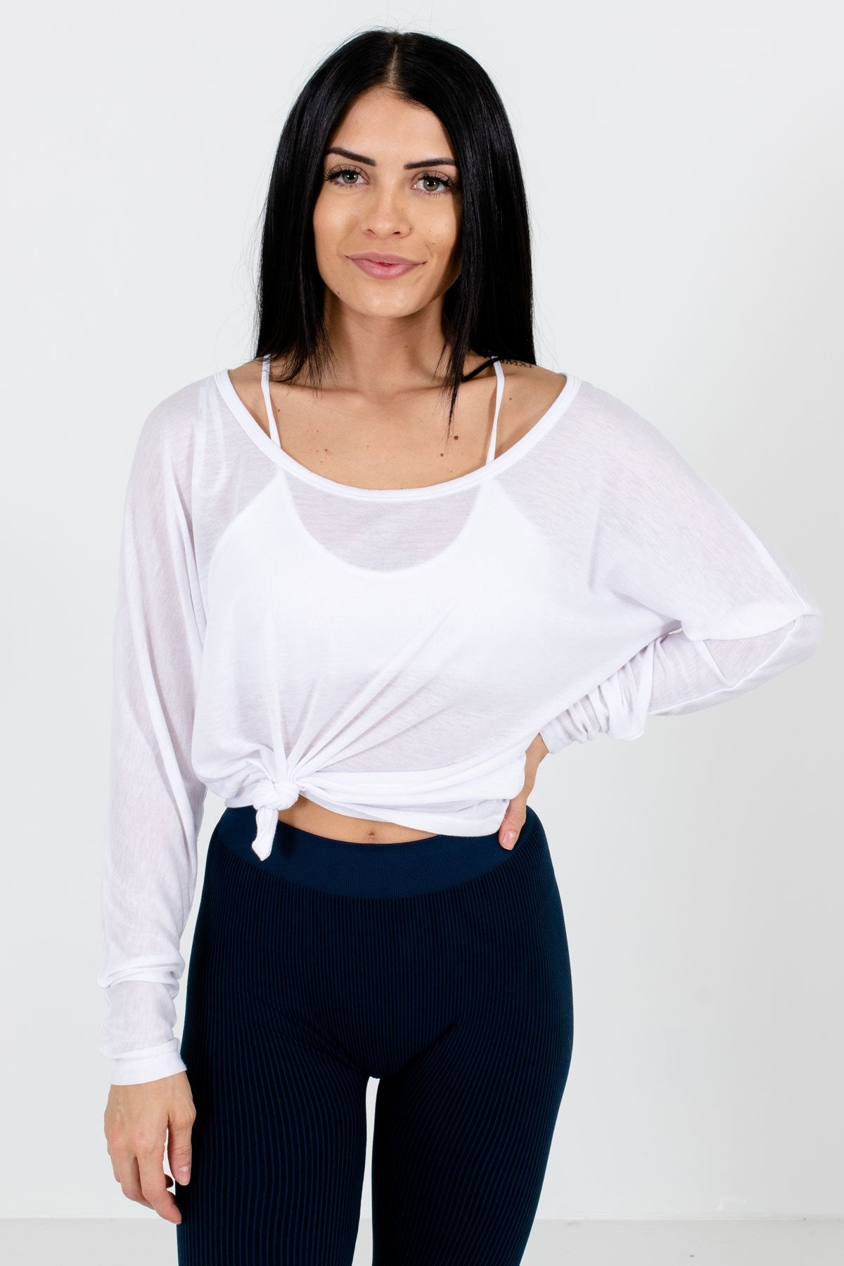 White Lightweight Active Boutique Tops for Women