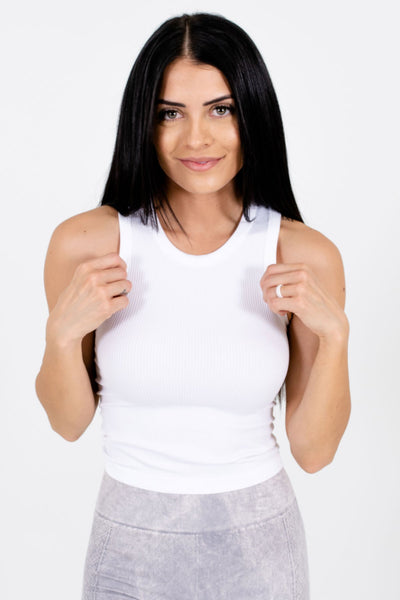 White Seamless Boutique Active Tank Tops for Women