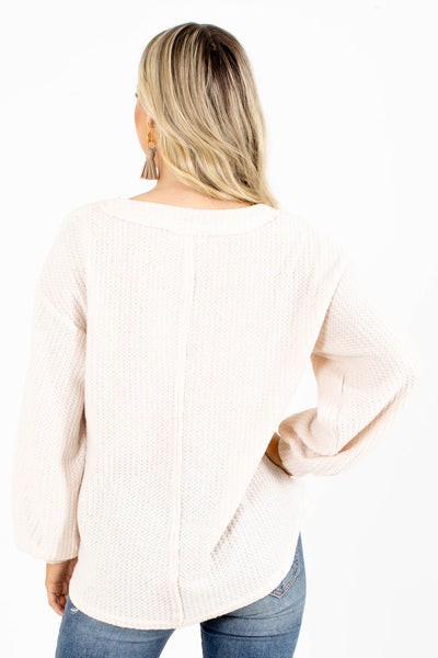Waffle Knit Beige Affordable Boutique Sweater