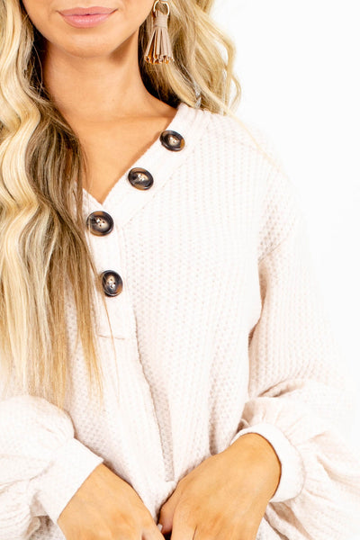 Button Up Waffle Sweater For Fall