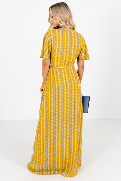 Women's Mustard Snap Button Accent Boutique Maxi Dress