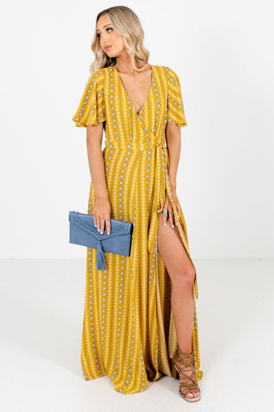 Mustard Partially Lined Boutique Maxi Dresses for Women