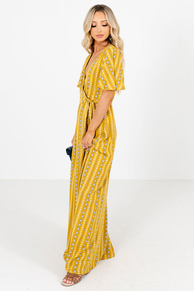 Women's Mustard Flowy Silhouette Boutique Maxi Dress